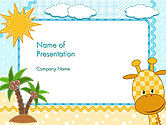 Education & Training: Kinderfoto's Kader Met Giraf PowerPoint Template #14573