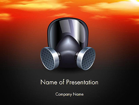 Pollution Mask PowerPoint Template, 14581, Nature & Environment — PoweredTemplate.com
