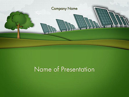 Solar Panels Batteries on Clean Field PowerPoint Template, 14585, Technology and Science — PoweredTemplate.com
