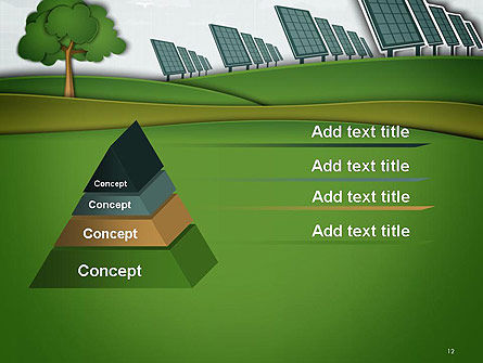 Solar Panels Batteries on Clean Field PowerPoint Template Slide 12