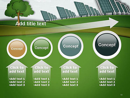 Solar Panels Batteries on Clean Field PowerPoint Template Slide 13