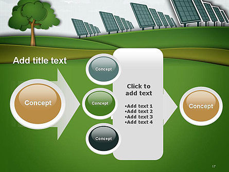 Solar Panels Batteries on Clean Field PowerPoint Template Slide 17