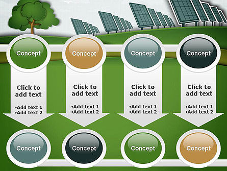 Solar Panels Batteries on Clean Field PowerPoint Template Slide 18