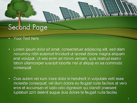 Solar Panels Batteries on Clean Field PowerPoint Template Slide 2