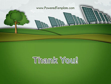 Solar Panels Batteries on Clean Field PowerPoint Template Slide 20