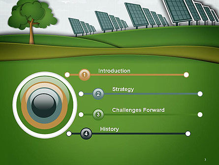 Solar Panels Batteries on Clean Field PowerPoint Template Slide 3