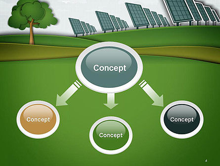 Solar Panels Batteries on Clean Field PowerPoint Template Slide 4