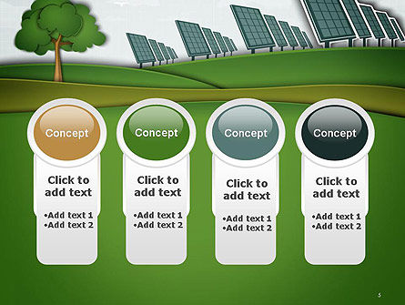Solar Panels Batteries on Clean Field PowerPoint Template Slide 5