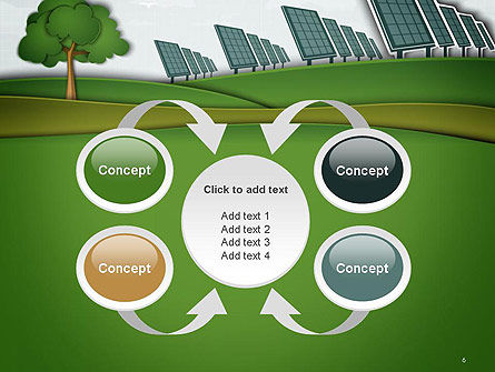 Solar Panels Batteries on Clean Field PowerPoint Template Slide 6