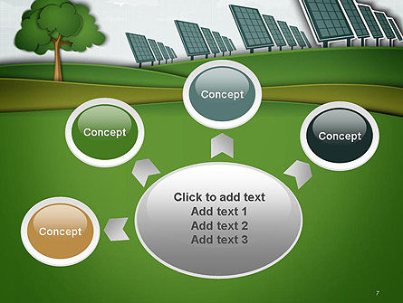 Solar Panels Batteries on Clean Field PowerPoint Template Slide 7