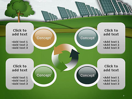Solar Panels Batteries on Clean Field PowerPoint Template Slide 9