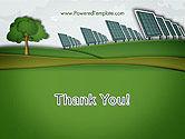Solar Panels Batteries on Clean Field PowerPoint Template#20