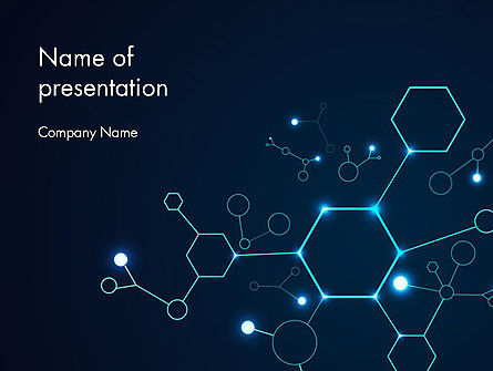 Connected Hexagons PowerPoint Template, 14594, Abstract/Textures — PoweredTemplate.com