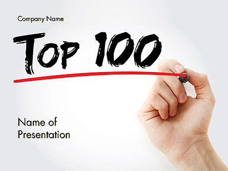 Business Concepts: A Hand Writing 'Top 100' with Marker PowerPoint Template #14601