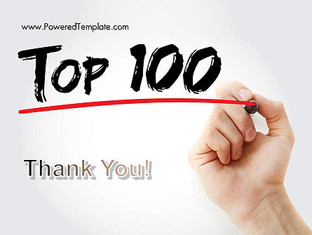 A Hand Writing 'Top 100' with Marker PowerPoint Template Slide 20