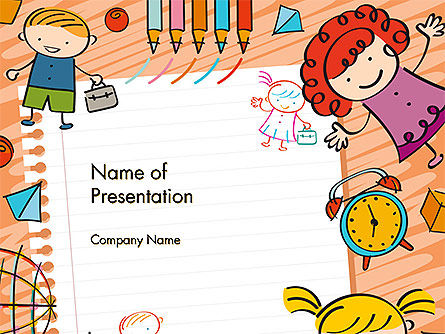 Kids and Toys Drawing Style Background PowerPoint Template, 14608, Education & Training — PoweredTemplate.com