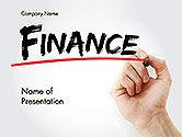 Financial/Accounting: A Hand Writing 'Finance' with Marker PowerPoint Template #14610