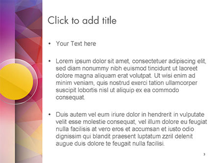 Yellow Circle on Pink Background PowerPoint Template, Slide 3, 14611, Abstract/Textures — PoweredTemplate.com