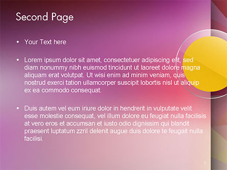 Yellow Circle on Pink Background PowerPoint Template, Slide 2, 14611, Abstract/Textures — PoweredTemplate.com