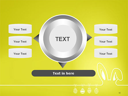 Happy Easter Background with Ears Rabbit and Eggs PowerPoint Template Slide 12