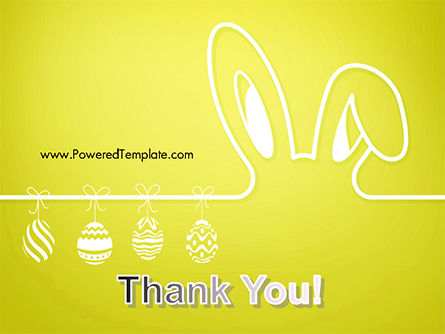 Happy Easter Background with Ears Rabbit and Eggs PowerPoint Template Slide 20