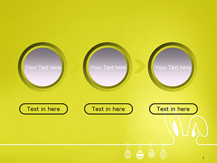 Happy Easter Background with Ears Rabbit and Eggs PowerPoint Template Slide 5