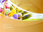 Holiday/Special Occasion: Basket with Easter Eggs PowerPoint Template #14618