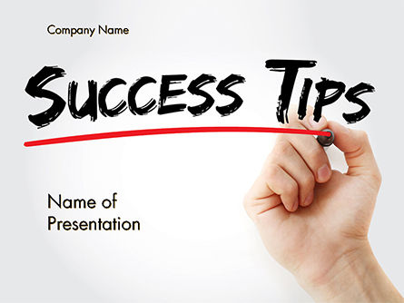 Education & Training: A Hand Writing 'Success Tips' with Marker PowerPoint Template #14619