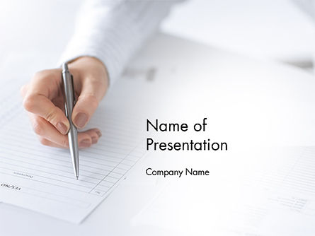 Careers/Industry: Woman Hand Filling in Document PowerPoint Template #14629