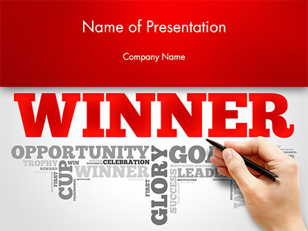 Winner Word Cloud PowerPoint Template, 14633, Business Concepts — PoweredTemplate.com
