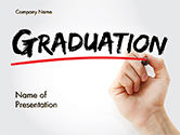 Education & Training: A Hand Writing 'Graduation' with Marker PowerPoint Template #14636