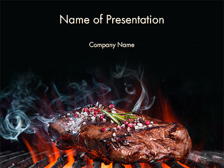 Food & Beverage: Beef Steak On Grill PowerPoint Template #14638
