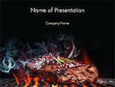 Beef Steak On Grill PowerPoint Template#1