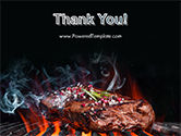 Beef Steak On Grill PowerPoint Template#20