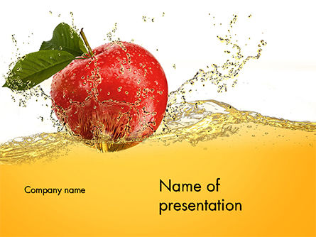 Apple With Juice Splash PowerPoint Template, 14644, Food & Beverage — PoweredTemplate.com