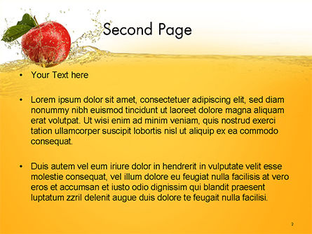 Apple With Juice Splash PowerPoint Template, Slide 2, 14644, Food & Beverage — PoweredTemplate.com