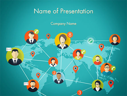 Social Connections on Word Map PowerPoint Template