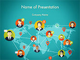 3D: Social Connections on Word Map PowerPoint Template #14646