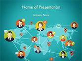 3D: Modèle PowerPoint de les connexions sociales sur le plan des mots #14646