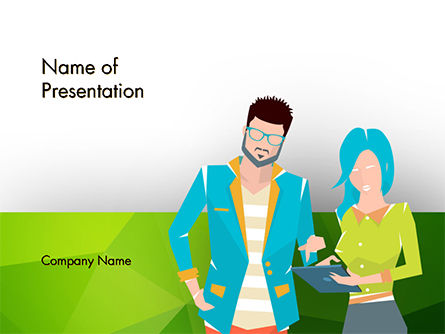 People: Discussion Between Young People PowerPoint Template #14648