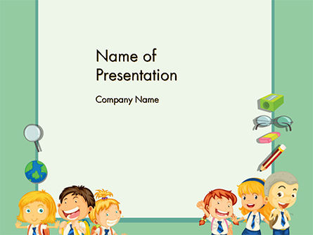 Frame with Children in School Uniform PowerPoint Template