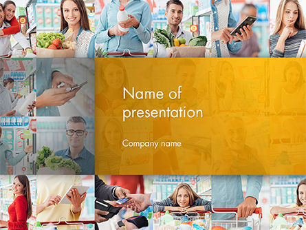 People in the Store PowerPoint Template