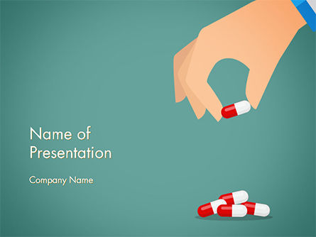 Doctor's Hand and Pills PowerPoint Template, 14662, Medical — PoweredTemplate.com