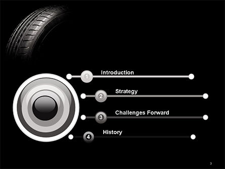 Tire Closeup PowerPoint Template, Slide 3, 14667, Cars and Transportation — PoweredTemplate.com