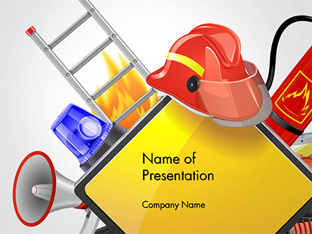 Fire Prevention Equipment PowerPoint Template, 14670, Careers/Industry — PoweredTemplate.com