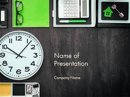 Tidy Business Desktop PowerPoint Template, 14672, Business Concepts — PoweredTemplate.com