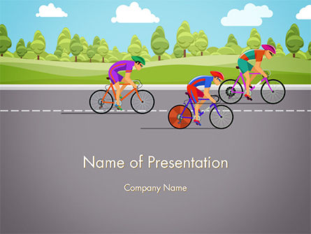 Sports: Bicycle Race Illustration PowerPoint Template #14675