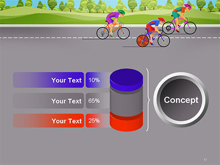 Bicycle Race Illustration PowerPoint Template Slide 11