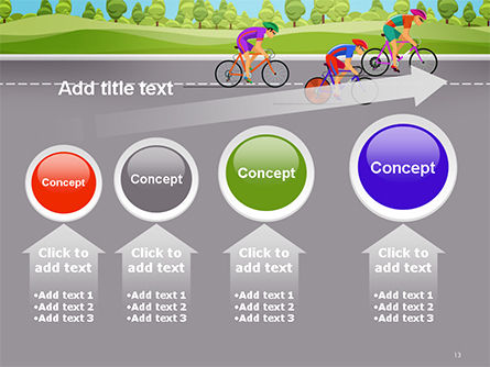 Bicycle Race Illustration PowerPoint Template Slide 13
