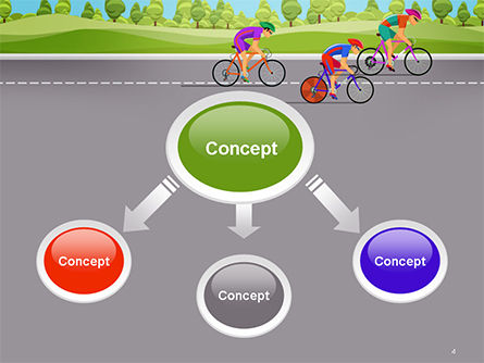 Bicycle Race Illustration PowerPoint Template, Slide 4, 14675, Sports — PoweredTemplate.com